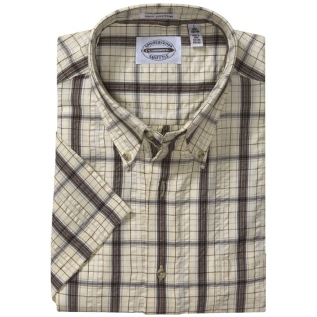 Viyella Button Down Plaid Cotton Shirt - Short Sleeve (For Men)