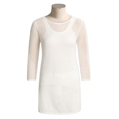 Joan Vass Linen-Cotton Mesh Shirt - 3/4 Sleeve (For Women)