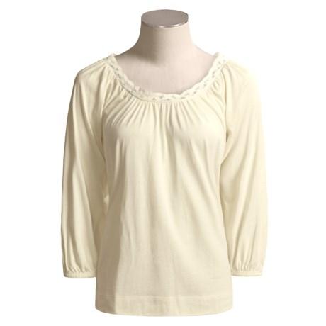 Joan Vass Jersey Knit Shirt - Macrame Trim, 3/4 Sleeve (For Women)