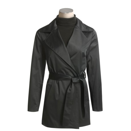 Joan Vass Belted Trench Coat - Stretch Cotton (For Women)