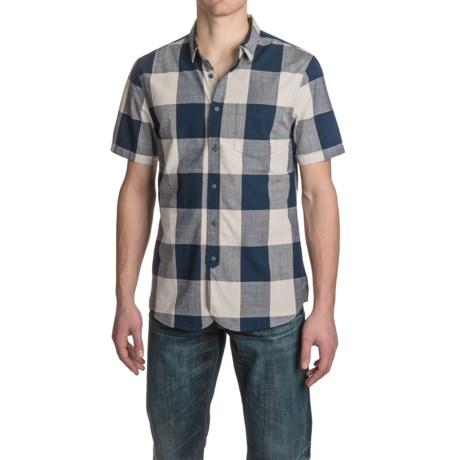 JACHS NY J.A.C.H.S. Large Indigo Check Shirt - Short Sleeve (For Men)