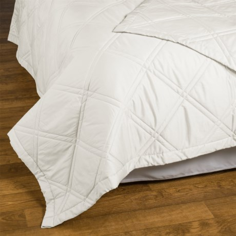 Allegria Fine Linens Lattice Quilted Coverlet - King, 300 TC Egyptian Cotton Sateen