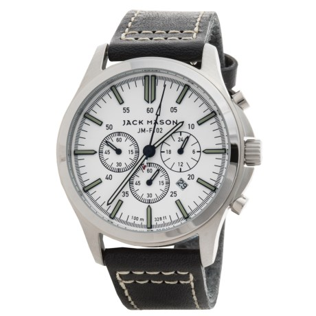 Jack Mason Field Chronograph Watch with Leather Band - 42mm