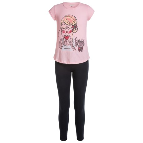 Specially made Heart Shirt and Leggings Set - 2-Piece Set, Short Sleeve (For Big Girls)