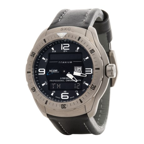 Luminox XCOR-SXC Pilot Analog Digital Titanium Watch - Leather Strap (For Men)