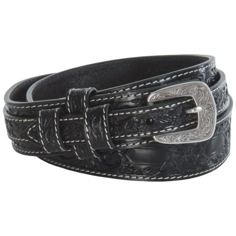 Roper Hand-Tooled Floral Leather Belt (For Men)