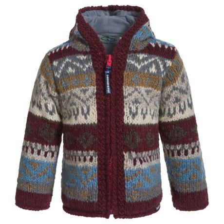 Laundromat Jacquard Hand-Knit Hooded Sweater - Wool (For Little Girls)