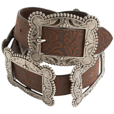 Roper Floral Embossed Multi-Buckle Belt - Leather (For Women)