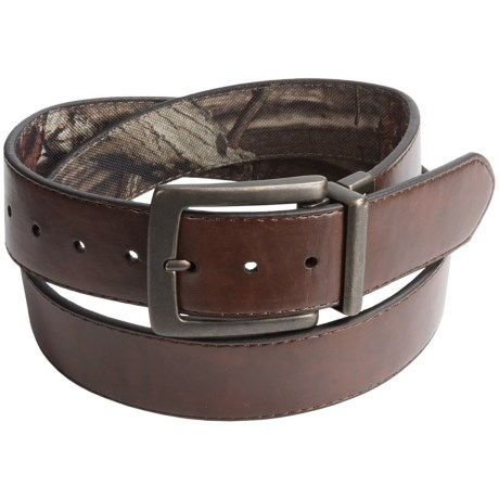 Mossy Oak Canvas and Leather Belt - Reversible (For Men)