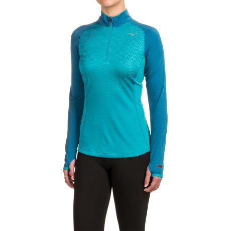 Mizuno Breath Thermo® Double-Knit Shirt - Zip Neck (For Women)