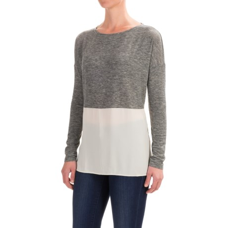 Specially made Hybrid Knit-Chiffon Shirt - Long Sleeve (For Women)