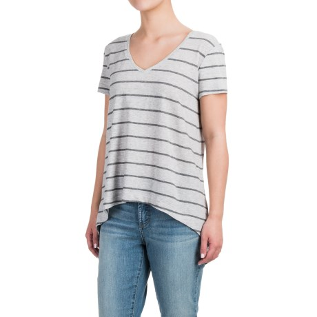 Specially made High-Low Striped Shirt - Cotton-Modal, Short Sleeve (For Women)