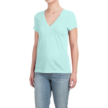 Specially made Deep V-Neck T-Shirt - Cotton-Modal, Short Sleeve (For Women)