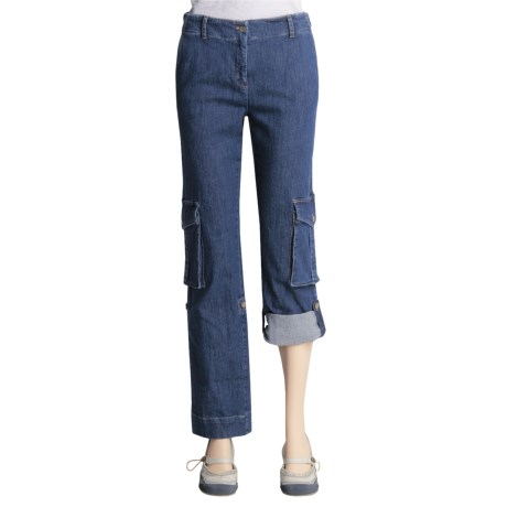 Peace of Cloth Panticular Molly Capri Pants - Denim, Cargo (For Women)