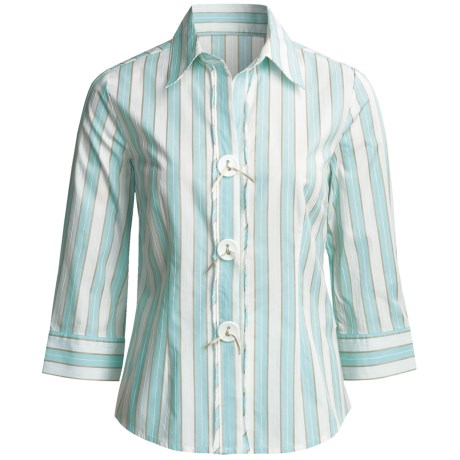 Madison Hill Striped Shirt - Cotton-Rich, 3/4 Sleeve (For Women)