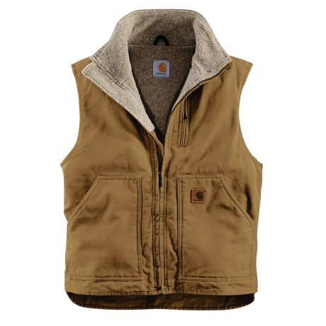 Carhartt Sandstone Mock Neck Vest - Sherpa Lined, Factory Seconds (For Men)
