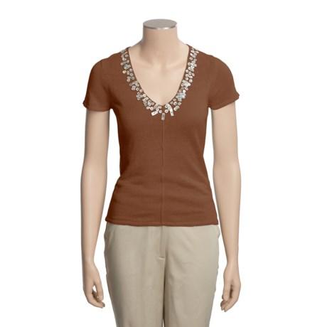 Lauren Hansen Beaded Shirt - Linen, Short Sleeve (For Women)