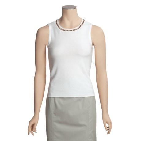 Lauren Hansen Crochet-Neck Shell - Cotton-Rich, Beaded Trim (For Women)