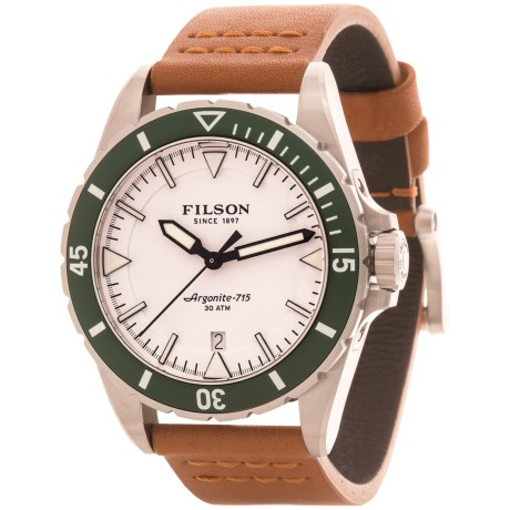 Filson Dutch Harbor Watch - 43mm, Tan Leather Strap (For Men)