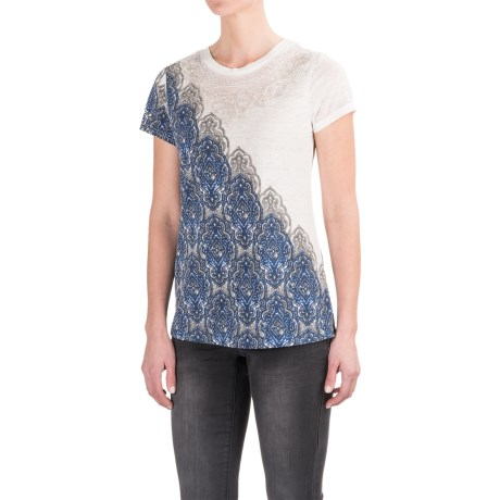 Max Jeans Beaded T-Shirt - Short Sleeve (For Women)