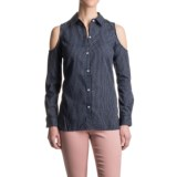 Max Jeans Pinstripe Cold Shoulder Shirt - Long Sleeve (For Women)