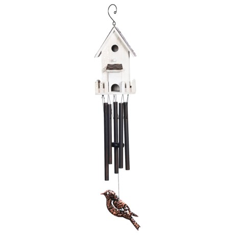 """Russco Copper Roof Bird House Wind Chimes - 26"""""""
