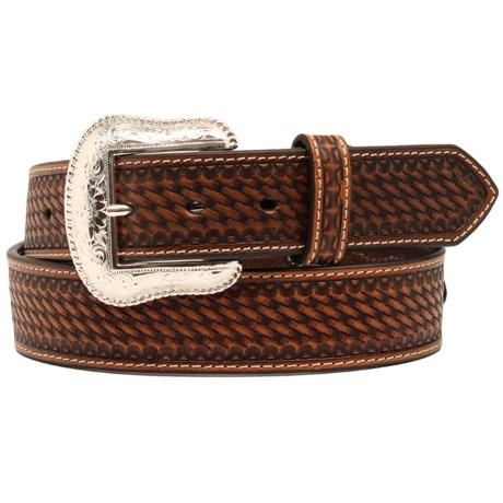 Nocona Basket-Weave Embossed Conchos Belt - Leather (For Men)