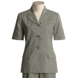 Hawksley & Wight Mini Houndstooth Jacket - Worsted Wool, Short Sleeve (For Women)