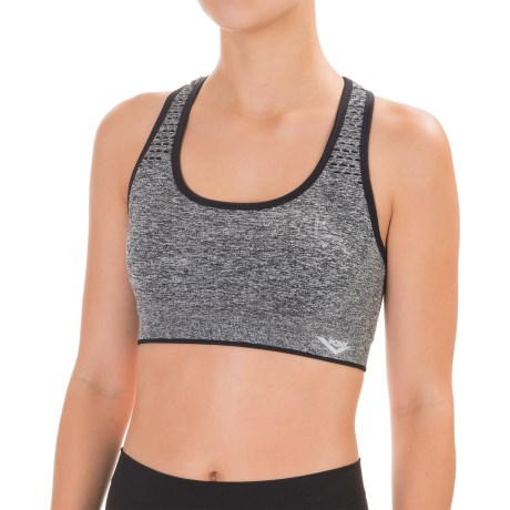 PONY Seamless Open Stitch Sports Bra - Racerback, Medium Impact, Removable Cups (For Women)