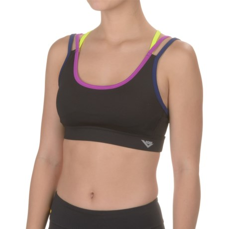 PONY Strap Sports Bra - Removable Cups, Medium Impact (For Women)