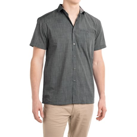 Bruno Space-Dyed Plaid Trim Button-Up Shirt - Short Sleeve (For Men)