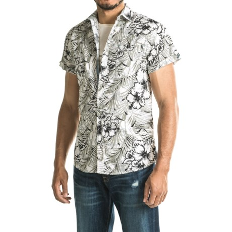 Drill Woven Printed Floral Shirt - Slim Fit, Short Sleeve (For Men)