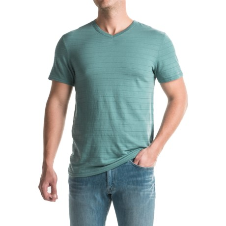 Specially made Shadow Stripe Knit T-Shirt - V-Neck, Short Sleeve (For Men)