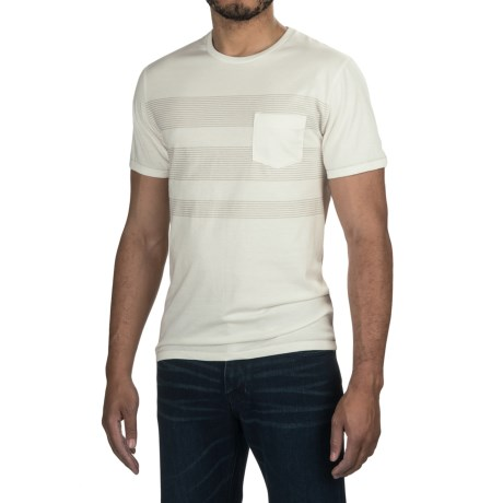 Specially made One-Pocket Pinstripe T-Shirt - Crew Neck, Short Sleeve (For Men)