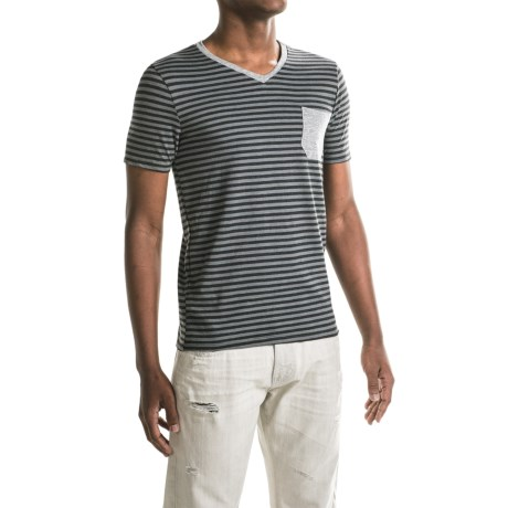Specially made One-Pocket Stripe T-Shirt - V-Neck, Short Sleeve (For Men)