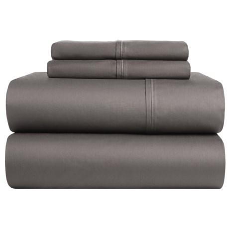 Elite Home Yardley Cotton Sateen Solid Sheet Set - Queen, 300 TC