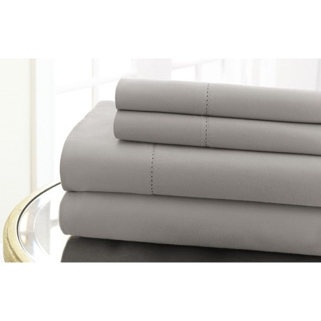 Elite Home Hemstitch Collection Cotton Sateen Sheet Set - Queen, 600 TC