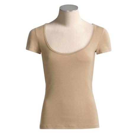 Body Bark Deep Scoop Neck Shirt - Micromodal®, Short Sleeve (For Women)