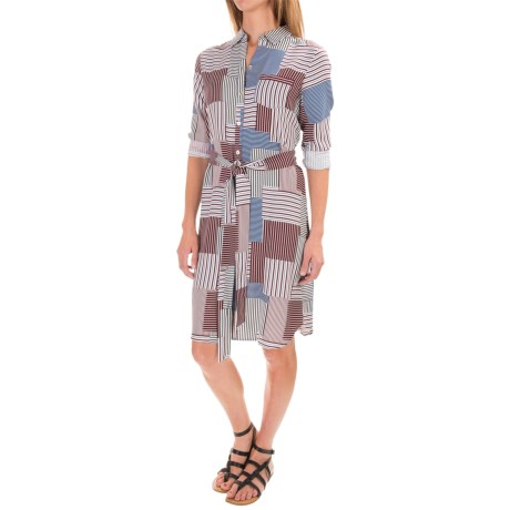 Foxcroft Rayon Twill Patchwork Shirt Dress - Long Sleeve (For Women)