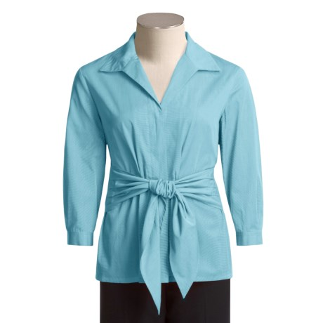 Austin Reed Cotton Shirt with Sash - 3/4 Sleeve (For Women)