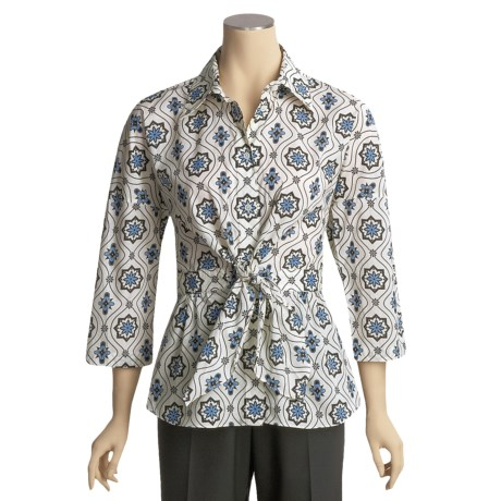 Austin Reed Cotton Print Shirt - Waist Tie, 3/4 Sleeve (For Women)