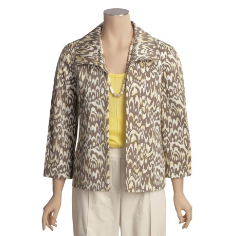 Austin Reed Cotton Pique Jacket - Portrait Collar, 3/4 Sleeve (For Women)