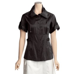 Eye Stretch Cotton Sateen Snap Shirt - Short Sleeve (For Women)