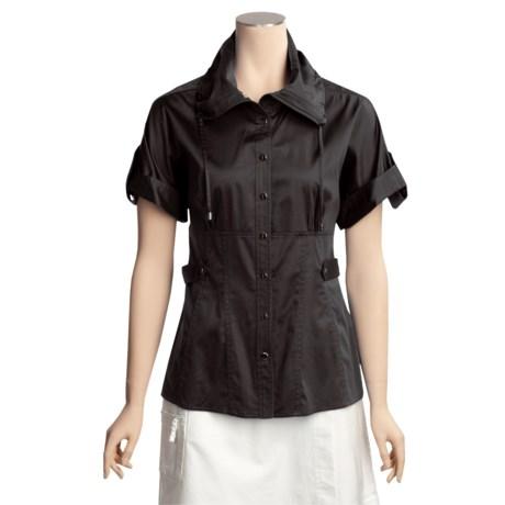 Eye Stretch Cotton Sateen Snap Shirt - Short Sleeve (For Women)