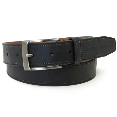 Geoffrey Beene Stitched-Edge Leather Belt (For Men)