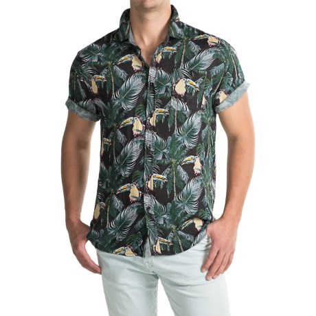 Free Nature Printed Rayon Shirt - Short Sleeve (For Men)