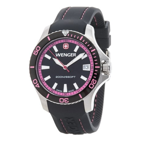 Wenger Black and Pink Dial Swiss Quartz Watch - 36mm, Silicone Strap (For Women)