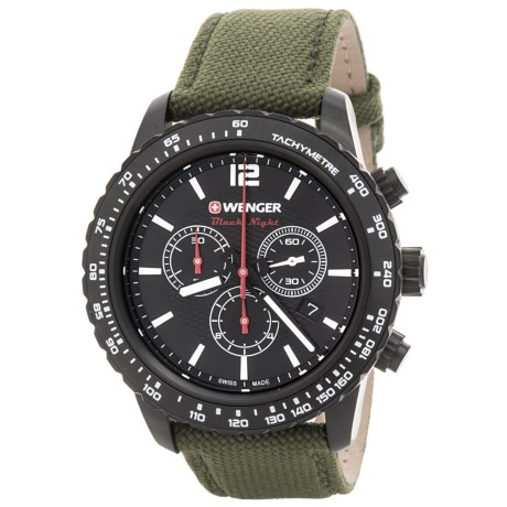 Wenger Roadster Chrono Watch - 45mm, Leather and Nylon Strap (For Men)