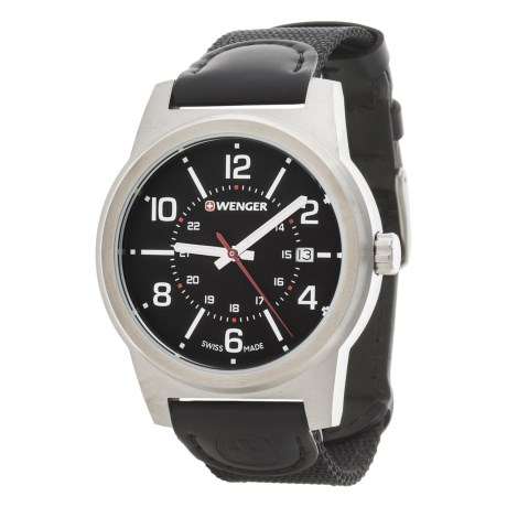 Wenger Field Classic Black Dial Swiss Quartz Watch - 43mm, Leather and Canvas Strap