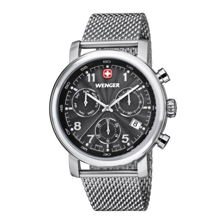 Wenger Urban Classic Chronograph Watch - 43mm, Polished Stainless Steel Mesh Bracelet
